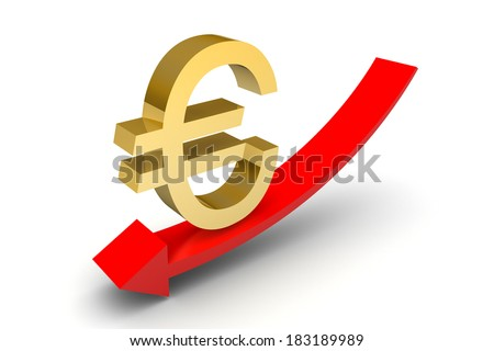 Euro Down Trend Arrow on white background