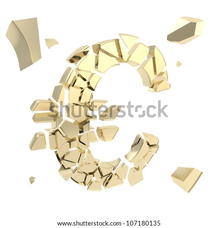 Euro economy collapse metaphor as currency symbol breaking into small shiny golden glossy pieces isolated on white - stock photo