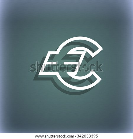 Euro EUR icon symbol on the blue-green abstract background with shadow and space for your text. illustration