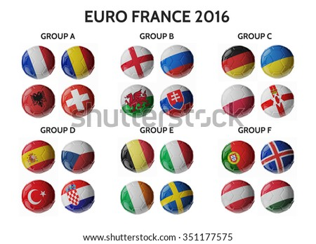 EURO 2016. Europe football. Set of soccer balls with flags. 3D render