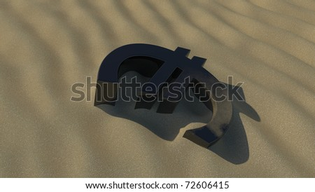 euro face down in the sand - stock photo