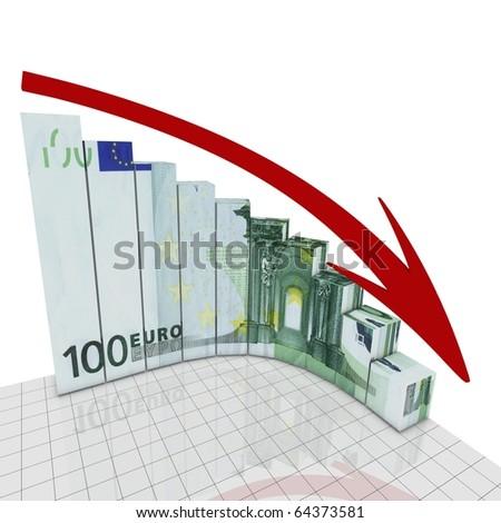 Euro fall round corner - stock photo