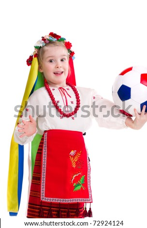 Euro 2012 fan - Little girl in traditional ukrainian clothes with ball