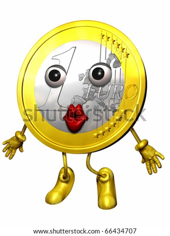 Euro figure or Euro character giving a kiss - stock photo