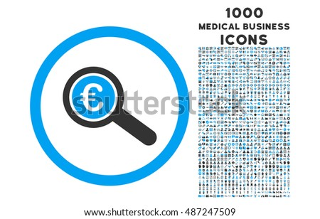 Euro Financial Audit rounded glyph bicolor icon with 1000 medical business icons. Set style is flat pictograms, blue and gray colors, white background.