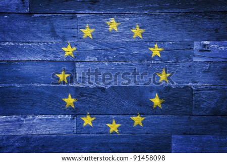 Euro flag painted on old wood background - stock photo
