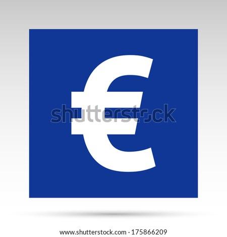 Euro flat icon - blue - stock photo