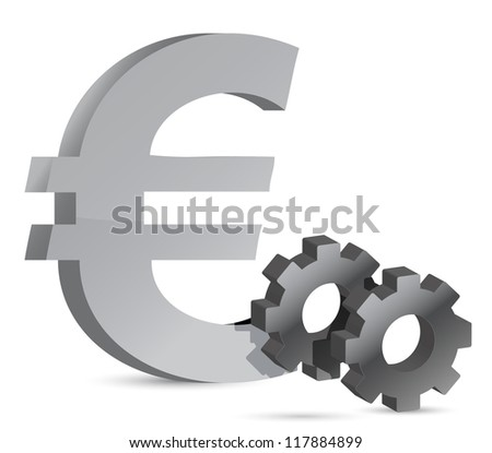 euro gear illustration design over white background - stock photo