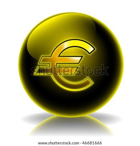 Euro glossy icon - stock photo