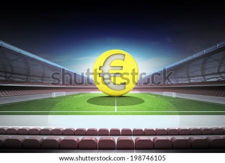 Euro golden coin in midfield of magic football stadium illustration - stock photo