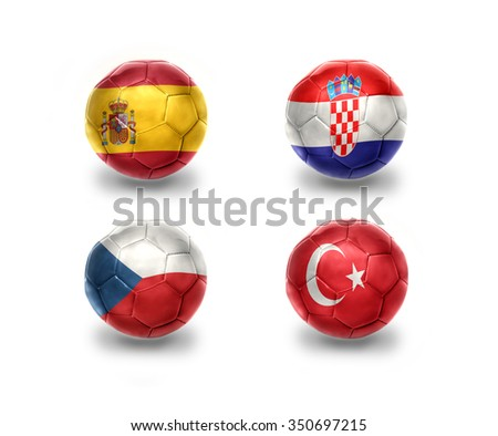 euro group D. realistic football balls with national flags of spain, croatia, czech republic, turkey - stock photo