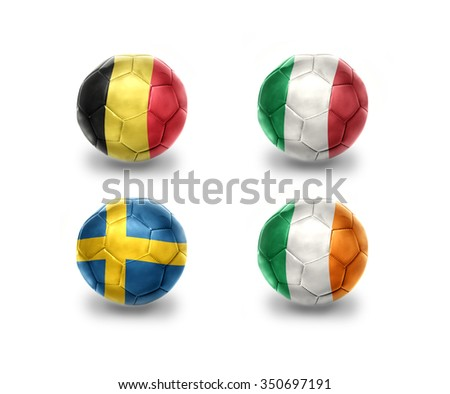 euro group E. realistic football balls with national flags of belgium, italy, sweden, ireland