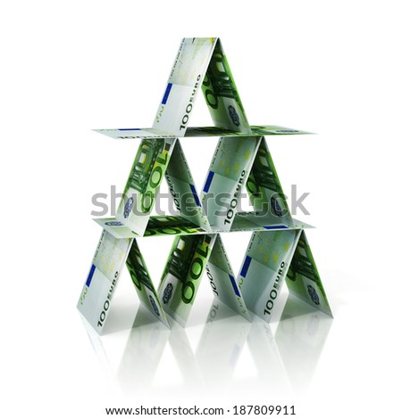 euro house of cards - stock photo
