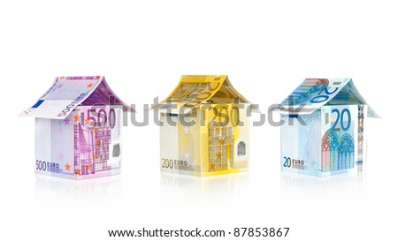 Euro Houses set with reflection isolated on white