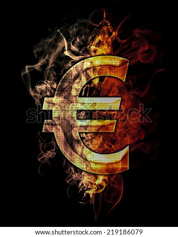 euro, illustration of  number with chrome effects and red fire on black background - stock photo