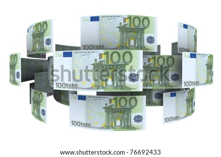 Euro in circulation of money. 3d rendering - stock photo