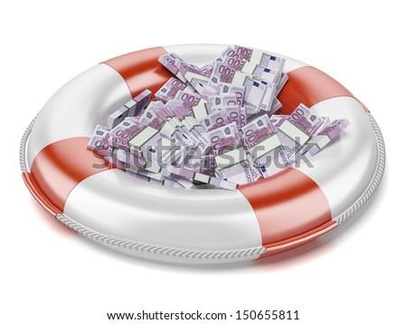 euro  in lifebuoy - stock photo