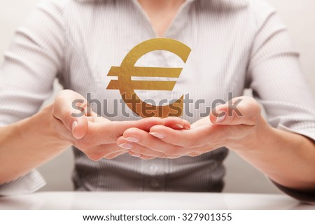 Euro in the hands (concept)