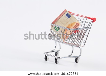 euro in the shopping cart