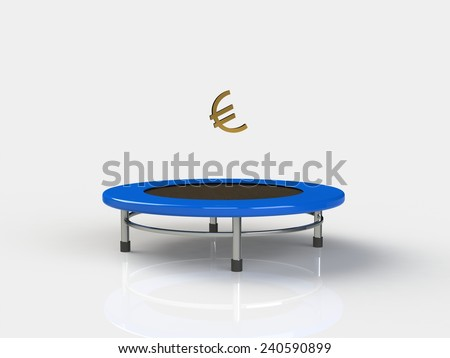 Euro Jumping on a trampoline on a white background - stock photo