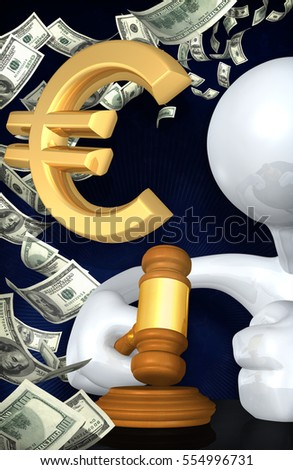 Euro Legal Gavel Concept With The Original 3D Character Illustration