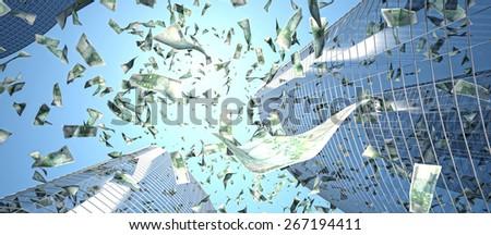 euro maney rain and skyscraper - stock photo
