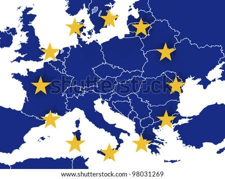 Euro map - stock photo
