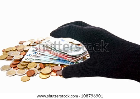 euro money and a hand / theft - stock photo