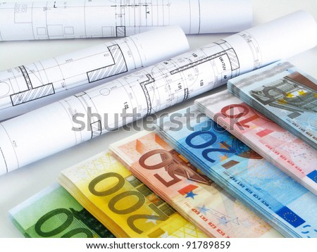 EURO money and plans - stock photo