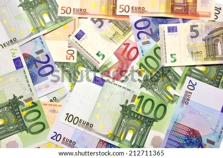 Euro money background. Banknotes texture - stock photo