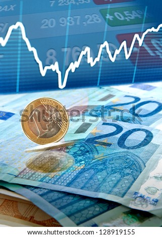 Euro money background with trade charts and stock stats - stock photo