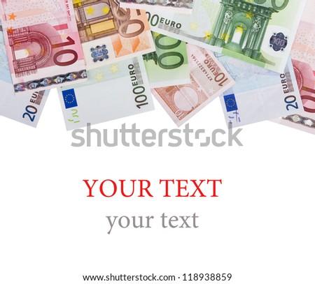 Euro money banknotes isolated on white - stock photo