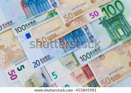 Euro money banknotes on banknotes background. Finance concept. - stock photo
