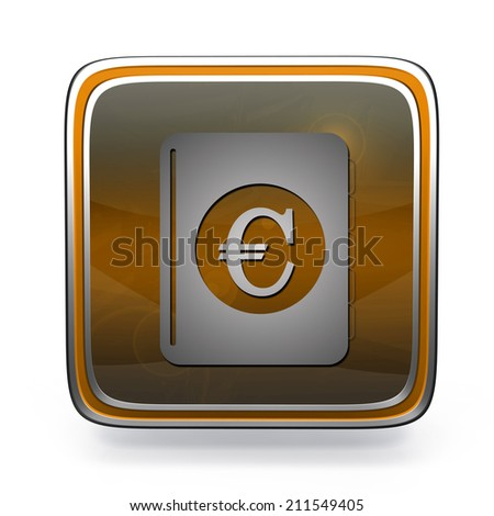 euro money book square icon on white background