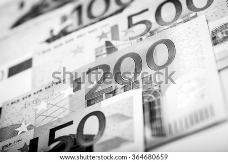 Euro money: closeup of banknotes - stock photo