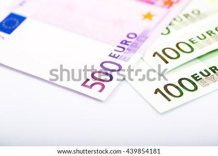 Euro money: closeup of banknotes - stock photo