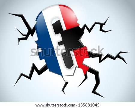 Euro Money Crisis France Flag Crack on the Floor - stock photo
