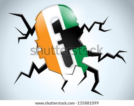 Euro Money Crisis Ireland Flag Crack on the Floor - stock photo