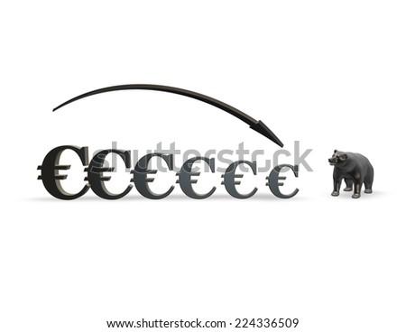 euro money drop down, forex and stock market crash concept illustration - stock photo