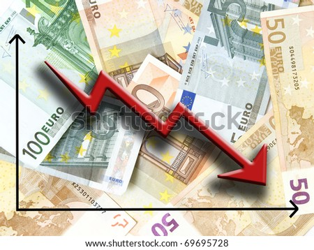 Euro money fall concept, against background made of Euro bills - stock photo