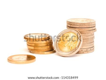 Euro money in coins - stock photo