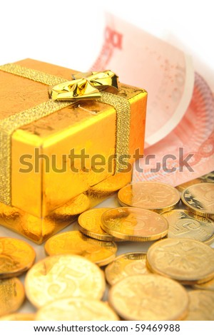 Euro money in golden gift box isolated on white.