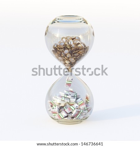 Euro Money In Hourglass (Conceptual Picture Of Successful Business) Forth Version - stock photo