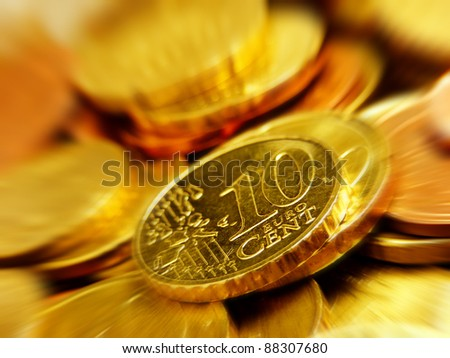 Euro money in motion effect. Finance concept. - stock photo
