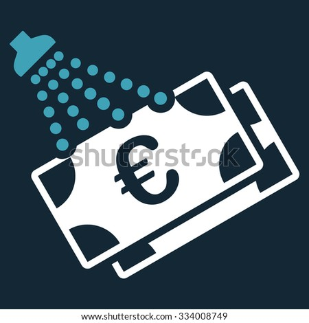 Euro Money Laundry glyph icon. Style is bicolor flat symbol, blue and white colors, rounded angles, dark blue background. - stock photo