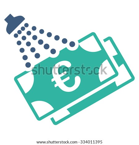 Euro Money Laundry glyph icon. Style is bicolor flat symbol, cobalt and cyan colors, rounded angles, white background. - stock photo