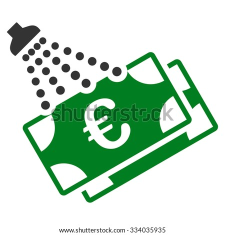 Euro Money Laundry glyph icon. Style is bicolor flat symbol, green and gray colors, rounded angles, white background. - stock photo