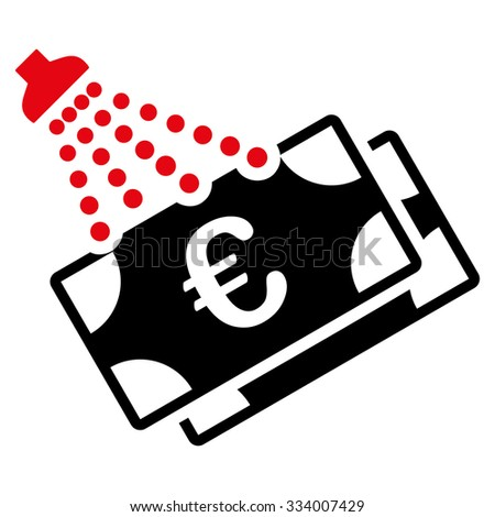 Euro Money Laundry glyph icon. Style is bicolor flat symbol, intensive red and black colors, rounded angles, white background. - stock photo