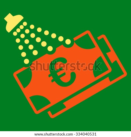 Euro Money Laundry glyph icon. Style is bicolor flat symbol, orange and yellow colors, rounded angles, green background. - stock photo