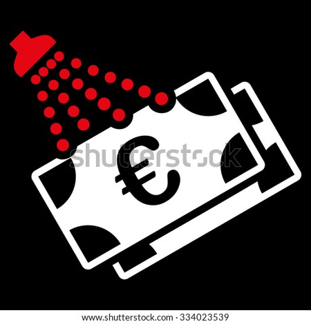 Euro Money Laundry glyph icon. Style is bicolor flat symbol, red and white colors, rounded angles, black background. - stock photo